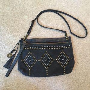 Lucky Brand Denim and Leather Dark Blue Purse